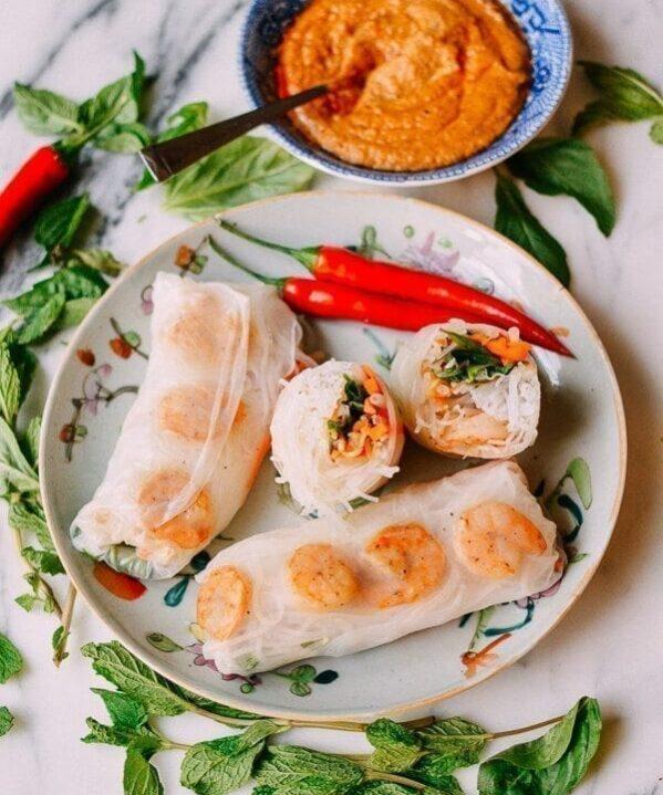 Vietnamese Summer Rolls with Seared Shrimp, by thewoksoflife.com