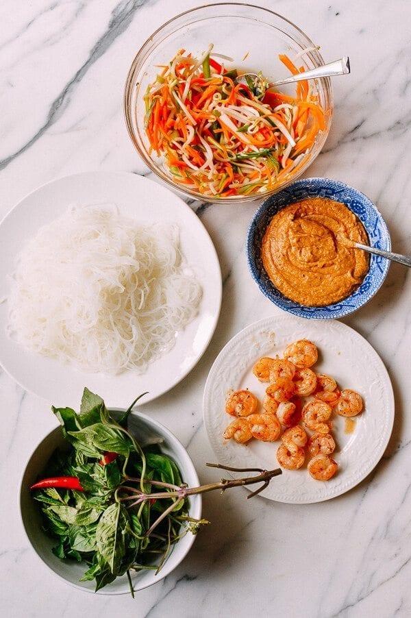 Vietnamese Summer Rolls with Seared Shrimp, by thewoksoflife.com
