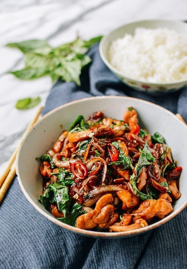 Thai Chicken Stir-fry with Basil & Mint, by thewoksoflife.com