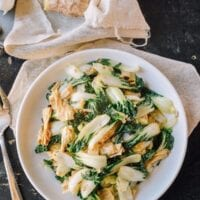 Stir Fried Bok Choy with Tofu Skin (腐皮青菜)