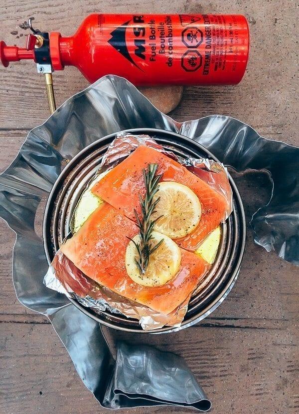 Cooking Salmon on Whisperlite Stove, by thewoksoflife.com
