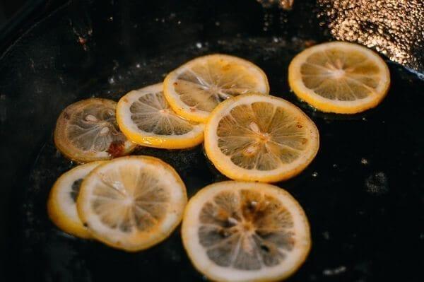 Lemon slices in pan, by thewoksoflife.com