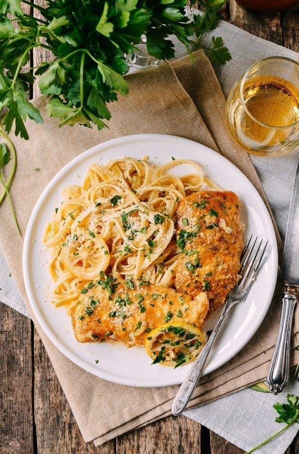 Chicken Francese with pasta, by thewoksoflife.com