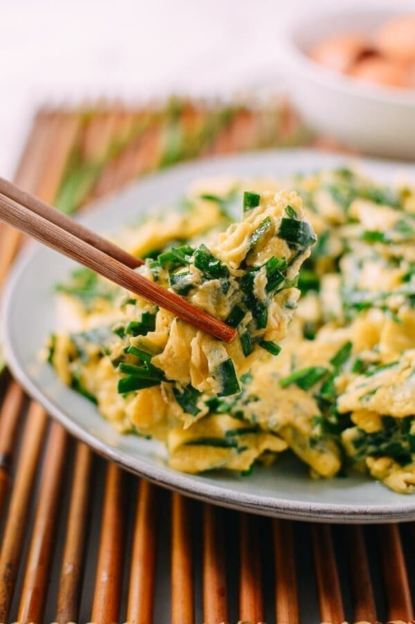 Chinese Chives & Eggs Stir Fry, by thewoksoflife.com