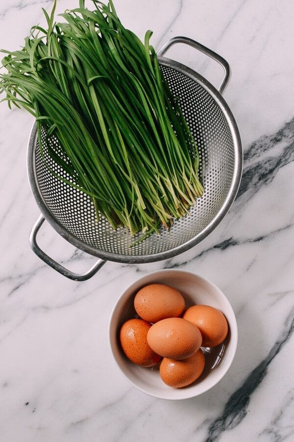 Chinese Chives & Eggs, by thewoksoflife.com