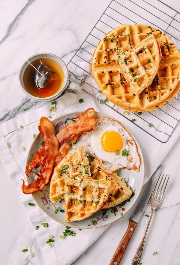Sesame Scallion Waffles, by thewoksoflife.com