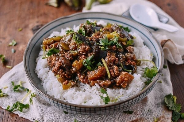 Braised Eggplant with Minced Pork, by thewoksoflife.com