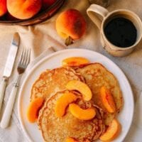 Peach Pancakes with Maple Cream Syrup