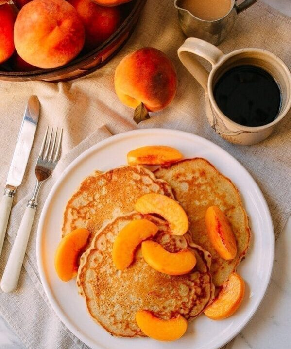 Peach Pancakes with Maple Cream Syrup, by thewoksoflife.com
