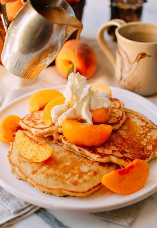 Peach Pancakes With Maple Cream Syrup The Woks Of Life