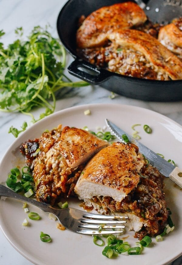 Sticky Rice Stuffed Chicken Breast, by thewoksoflife.com