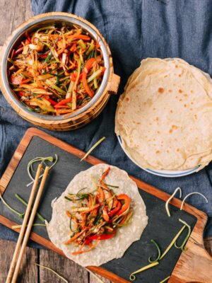Vegetable Moo Shu, by thewoksoflife.com