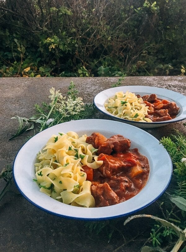 Campfire Beef Stew with Buttered Parsley Noodles, by thewoksoflife.com