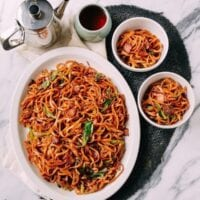 Bacon & Scallion Egg Noodle Stir-fry