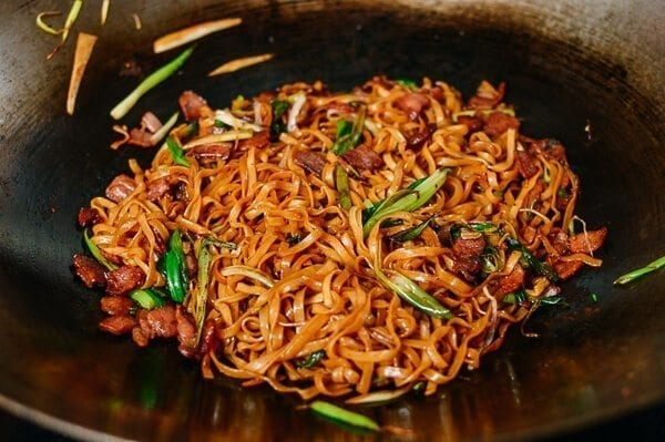 Bacon & Scallion Egg Noodle Stir-fry, by thewoksoflife.com