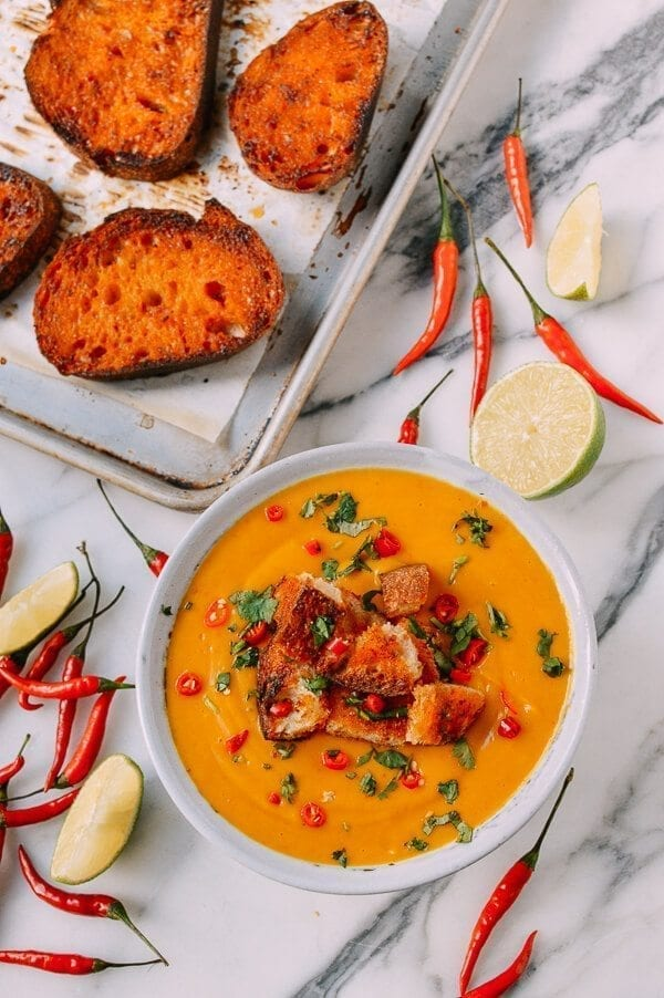 Curried Squash Soup with Red Curry Butter Croutons, by thewoksoflife.com