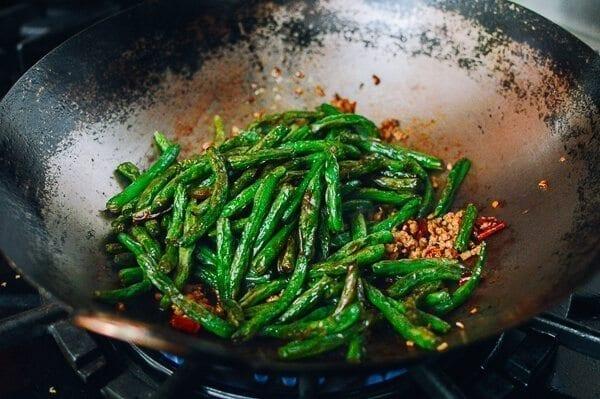 Gan Bian Si Ji Dou - Sichuan Dry Fried String Beans, by thewoksoflife.com