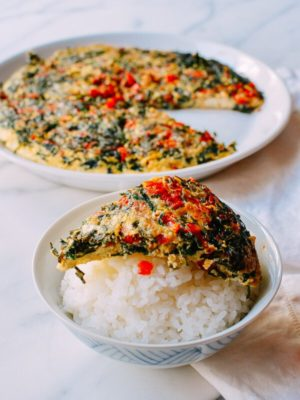 Salted Chili & Chinese Chive Frittata, by thewoksoflife.com