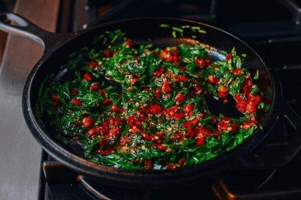 Salted Chili & Chinese Chive Frittata, by thewoksoflife.com
