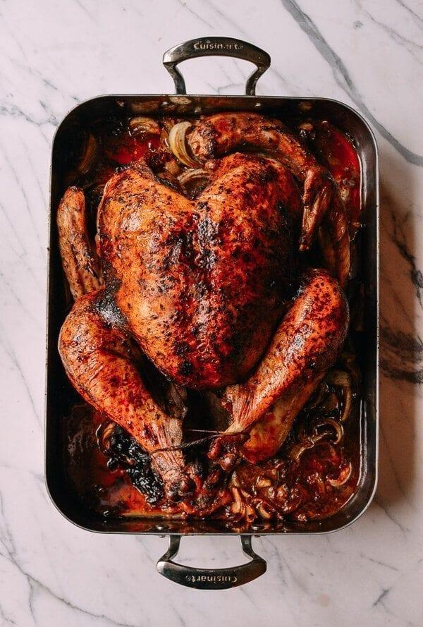 Five Spice Roast Turkey with Giblet Onion Gravy, by thewoksoflife.com