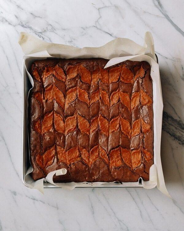 Swirled Pumpkin Brownies, by thewoksoflife.com
