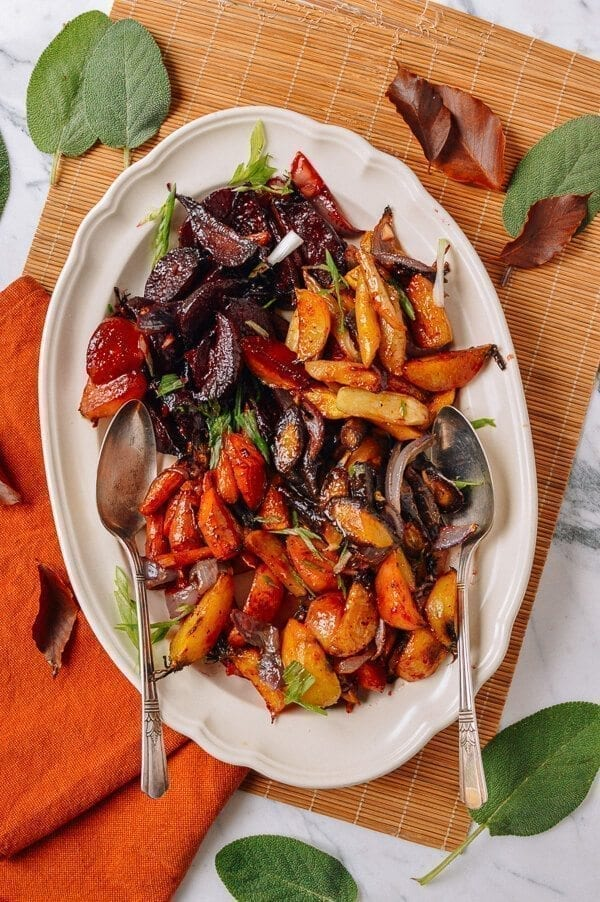 Roasted Root Vegetables with a Miso Glaze, by thewoksoflife.com