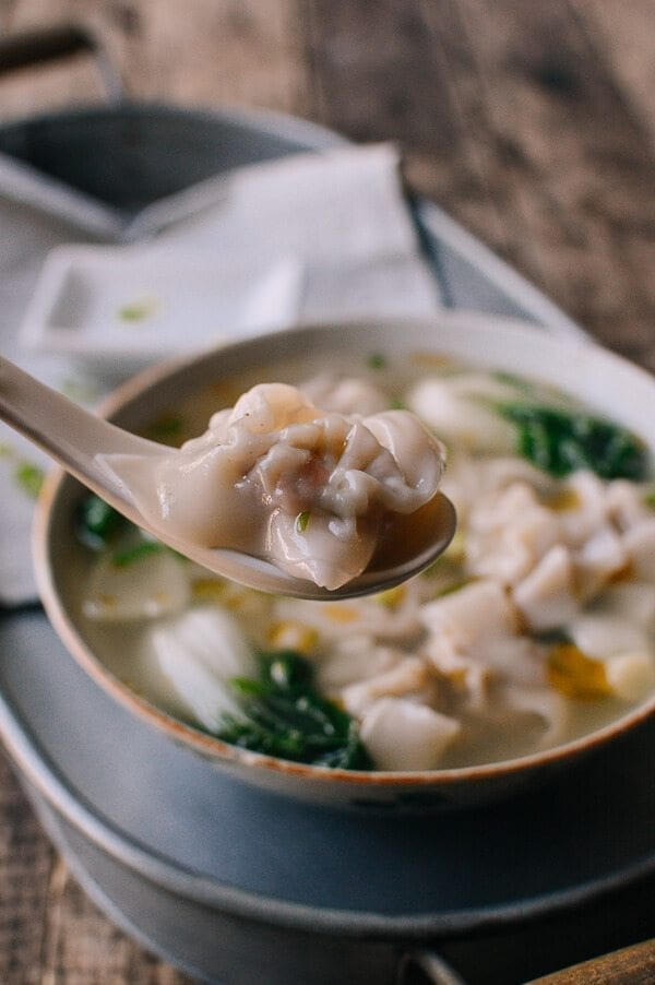 San Xian Wontons (Shrimp, Pork & Chicken Wontons), by thewoksoflife.com