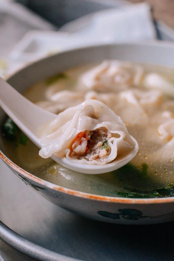 San Xian Wontons (Shrimp, Pork & Chicken Wontons), by thewoksoflife.com