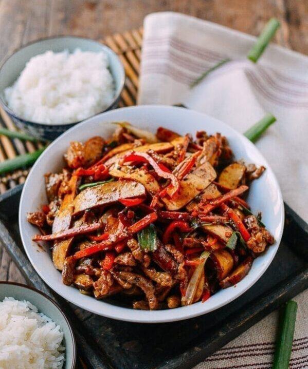 Shredded Pork with Five Spice Tofu, by thewoksoflife.com