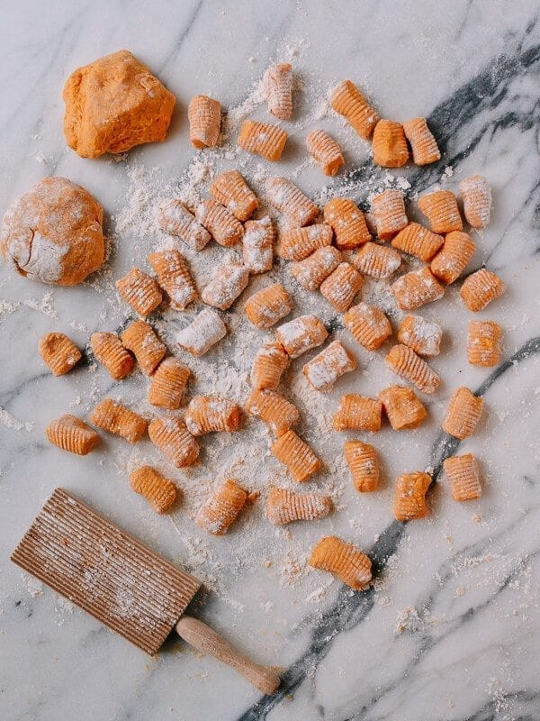 Baked Sweet Potato Gnocchi with Bacon and Sage, by thewoksoflife.com