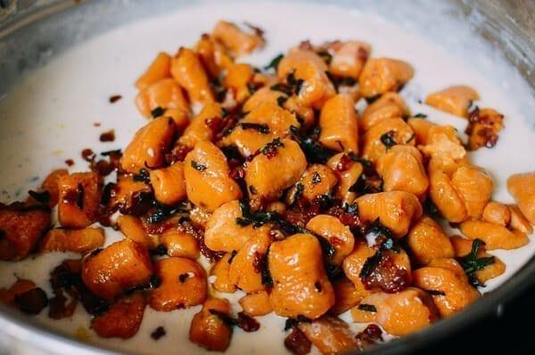 Baked Sweet Potato Gnocchi with Bacon and Sage, by thewoksoflife.com