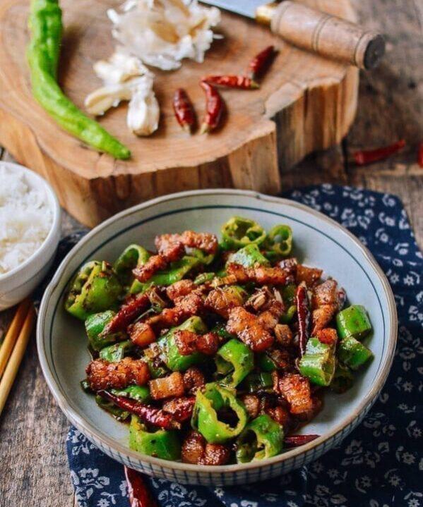 Sichuan Three Pepper Pork Belly Stir-fry, by thewoksoflife.com