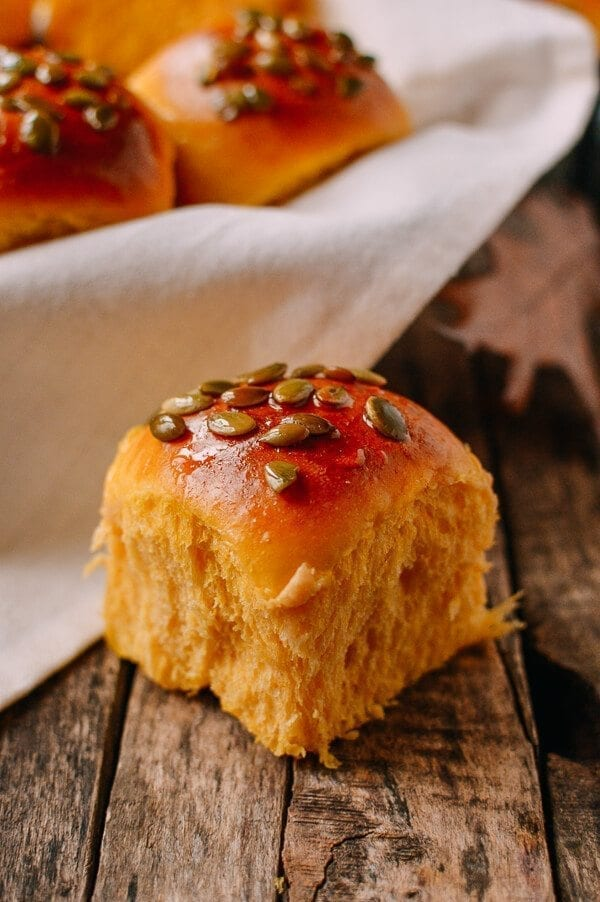 Pumpkin Dinner Rolls, by thewoksoflife.com