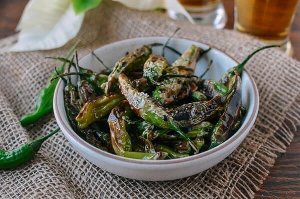 Blistered Shishito Peppers with Sea Salt, by thewoksoflife.com