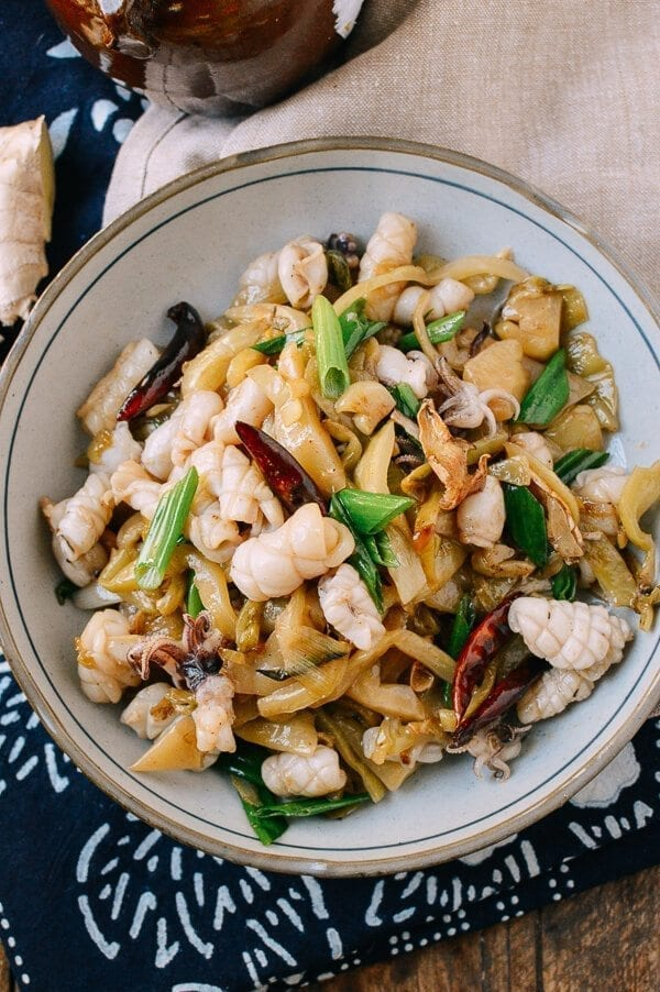 Squid Stir-Fry with Pickled Mustard Greens, by thewoksoflife.com