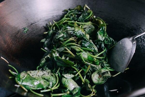 Stir-fried Yam Leaves, by thewoksoflife.com