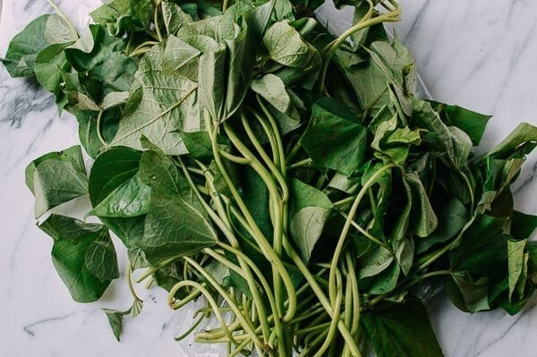 Chinese Vegetables: yam leaves or sweet potato leaves, by thewoksoflife.com
