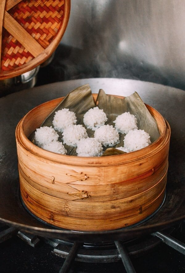 Chinese Pearl Meatballs with Sticky Rice, by thewoksoflife.com