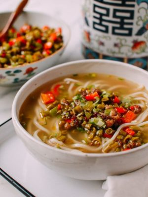 Chinese Pickled Long Bean Noodle Soup, by thewoksoflife.com