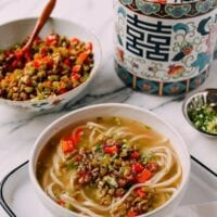 Chinese Pickled Long Bean & Pork Noodle Soup, by thewoksoflife.com