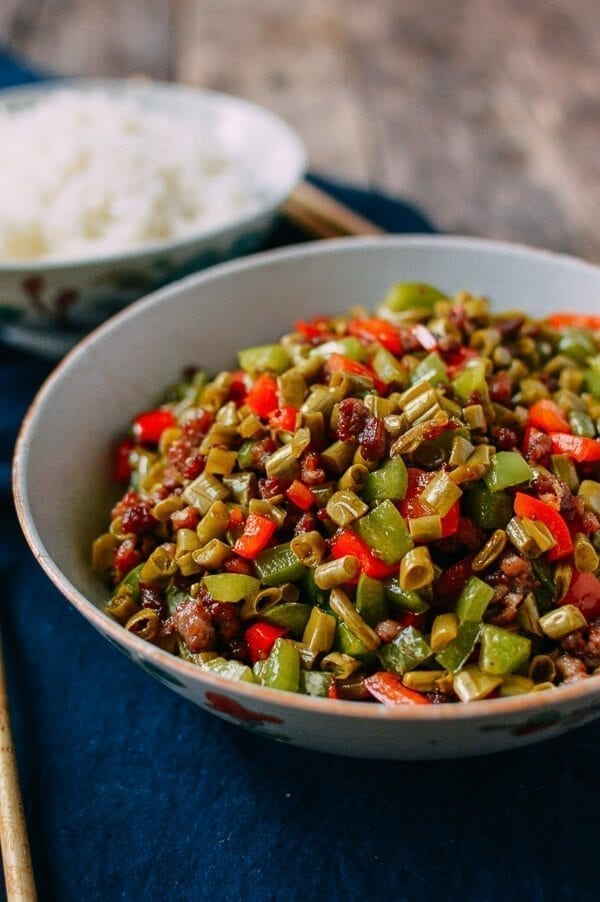 Chinese Pickled Long Beans with Pork, by thewoksoflife.com