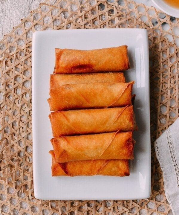 Spring rolls on white plate