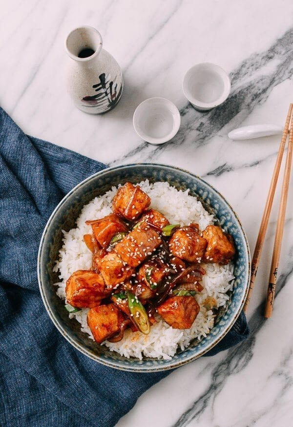Teriyaki Tofu Rice Bowl, by thewoksoflife.com