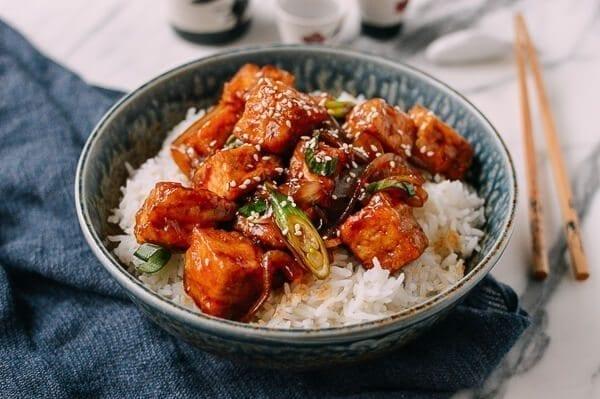 Teriyaki Tofu Rice Bowl, by thewoksoflife.com