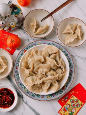 Shandong Pork and Fish Dumplings (Jiaozi), by thewoksoflife.com