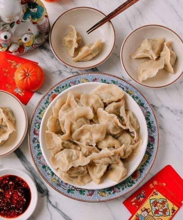 Shandong Pork and Fish Dumplings (Jiaozi), by thewoksoflife.com