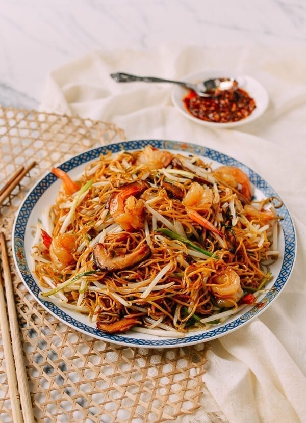 Hong Kong Style Shrimp Chow Mein Noodles, by thewoksoflife.com