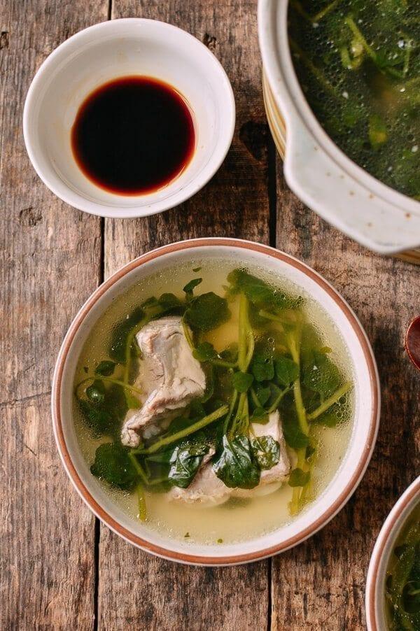 Chinese Watercress Soup with Pork Ribs (Sai Yeung Choy Tong), by thewoksoflife.com