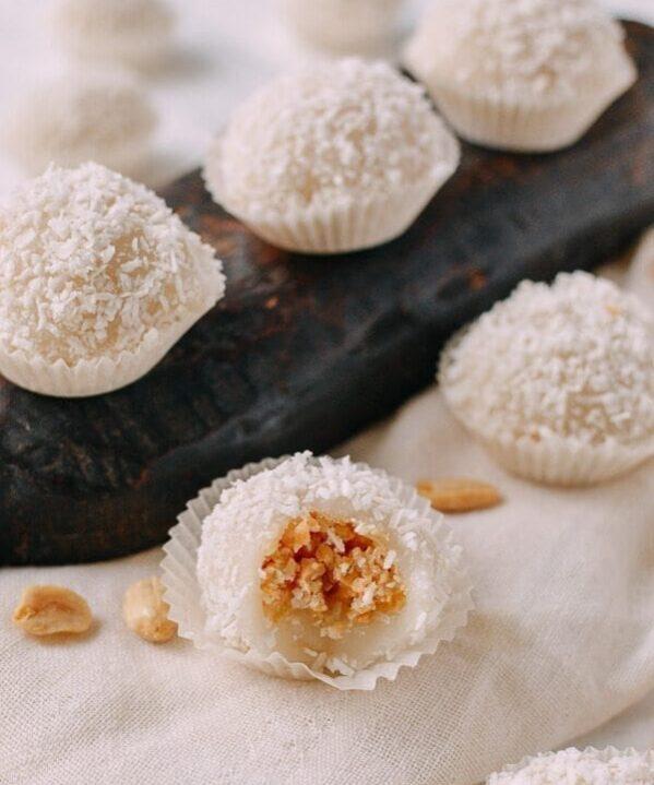 Coconut Peanut Mochi (糯米糍), by thewoksoflife.com