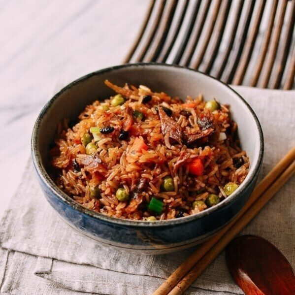 One Pot Rice Cooker Rice with Dace Fish, by thewoksoflife.com